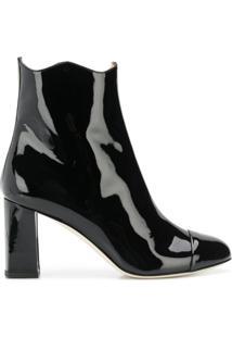 Francesca Bellavita Ankle Boot 'Lolita' De Couro - Preto