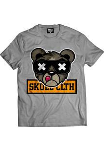Camiseta Manga Curta Skull Clothing Urso Skull Cinza