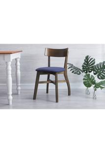 Cadeira Jantar Estofada Bella - Castanho E Azul Tec. A109 - 44X51X82 Cm