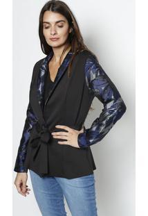 Blazer Com Amarração - Preto & Azul - Maria Valentinmaria Valentina