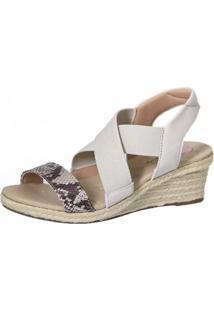 Sandália Anabela Doctor Shoes 663 Couro Cobra Marrom/Bege