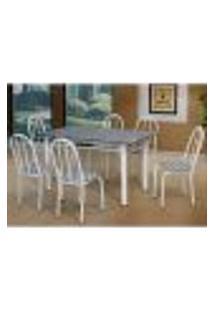 Conjunto De Mesa Com 6 Cadeiras Sara Branco