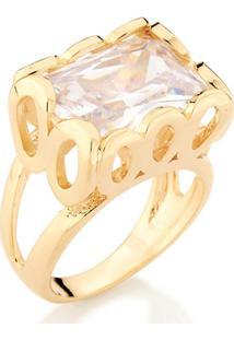 Anel Com Pedra De Zircônia Rommanel - Feminino-Dourado