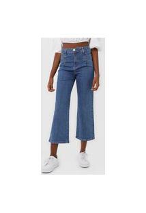 Calça Cropped Jeans Sawary Slim Pregas Azul
