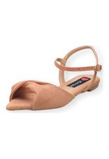 Sandália Rasteira Love Shoes Bico Folha Nó Torcido Nude