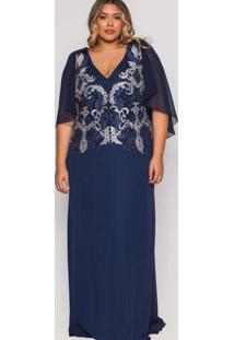Vestido Almaria Plus Size Pianeta Longo Capa Azul