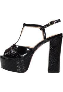 Sandália Salto Alto Meia Pata Week Shoes Verniz Croco Preto