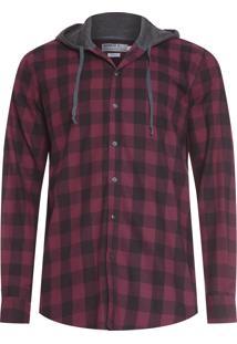Camisa Masculina Xadrez Capuz - Vermelho