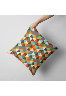 Capa De Almofada Avulsa Decorativa Multi Triângulos Coloridos 35X35Cm