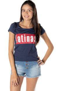 """Blusa """"Latinas"""" - Azul Marinho & Vermelhadwz"""