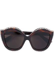 Gucci Eyewear Óculos De Sol Com Aplicação De Cristal - Marrom