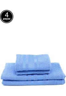 Jogo De Banho Atlântica 4Pçs Delicata Azul Real