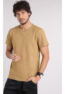 Camiseta Masculina Slim Fit Em Piquet Manga Curta Gola Careca Caramelo
