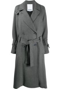 Kenzo Trench Coat Midi Com Cinto - Cinza