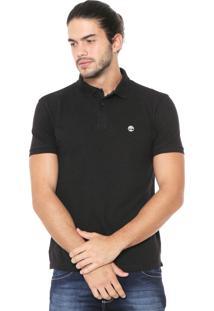 Camisa Polo Timberland Reta Ss Stretch Preta