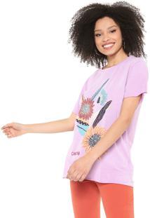 Camiseta Cantão Flores Lilás