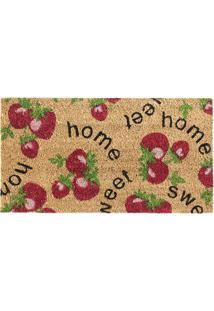 Capacho Sweet Home- Bege & Vermelho- 60X33Cm- Agagi Tapetes