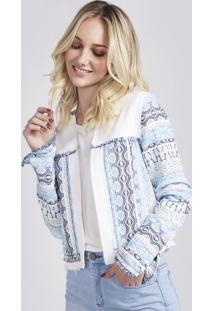Casaqueto Em Tweed Com Recorte - Branco & Azulpop Up