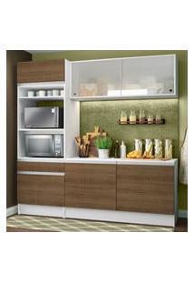 Armário De Cozinha Compacta Madesa Topazio Com Balcáo E Tampo - Branco/Rustic Branco