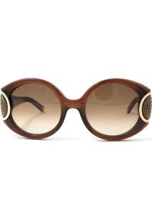 625843025 ... Óculos De Sol Salvatore Ferragamo Sf811Sr Signature 210/54 Marrom  Transparente