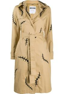 Moschino Trench Coat Com Estampa - Neutro