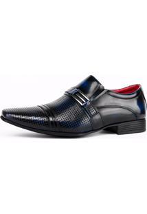 Sapato Social Art Shoes Perfuros Azul