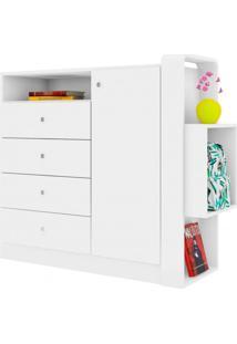 Cômoda Infantil 1 Porta 4 Gavetas E Nicho Doce Cheiro Art In Móveis Branco