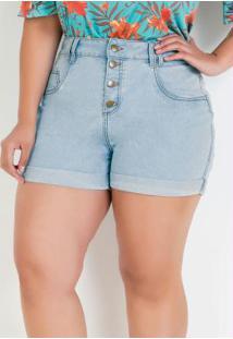 Short Jeans Claro Plus Size Com Botões