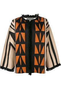 Alberta Ferretti Geometric Print Fringed Jacket - Marrom