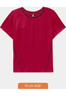 Blusa Plus Size Rayon E Malha Vermelho