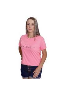 Bella Isa - Camiseta T Shirt Feminina Wild And Free Rosa Neon - Bi4006-Rs