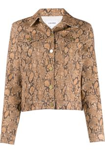 Frame Snakeskin-Effect Fitted Jacket - Neutro
