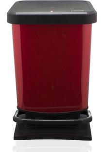 Lixeira Rotho Plastico Vermelho/Preto 20Litros