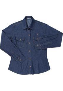 Camisa Feminina Jeans Country & Cia - Feminino-Azul