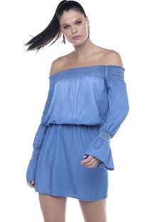 Vestido Riccieri Ombro A Ombro Jeans - Azul - Feminino - Dafiti