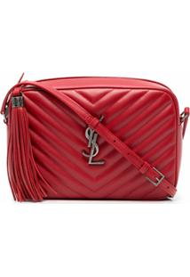 Saint Laurent Bolsa Tiracolo Matelassê Com Placa De Logo - Vermelho