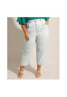 Calça Plus Size Baggy Jeans Cintura Super Alta Com Pregas Azul Claro