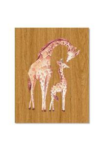 Quadro Girafa E Filhote G Madeira