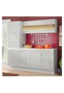 Cozinha Compacta 100% Mdf Madesa Smart 170 Cm Modulada Com Armário, Balcão E Tampo - Frentes Branco Brilho