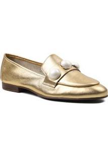 Sapato Feminino Loafer Pedraria Loucos E Santos Em Couro Legítimo