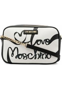 Love Moschino Cursive Logo Leather Bag - Preto