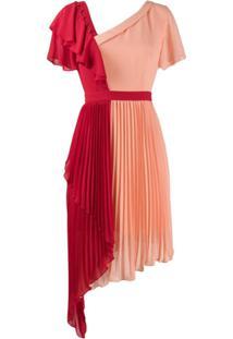 Three Floor Vestido Chimera Plissado Bicolor - Rosa