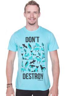 Camiseta Animalia Dont Destroy Turquesa