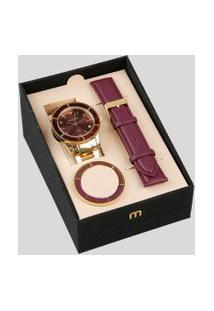 Relógio Analógico Mondaine Troca Pulseira Feminino - 99265Lpmvde1 Dourado