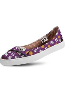 Sapatilha Usthemp Womanly Vegano Casual Estampa Halloween Roxo