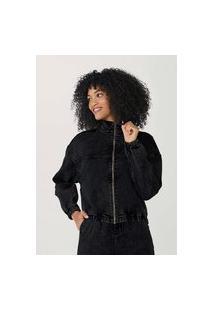 Jaqueta Feminina Estonada Em Jeans Com Elastano