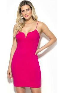 Vestido Curto Decote V Rosa