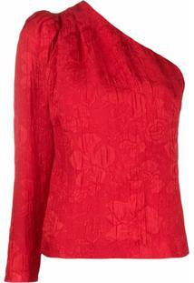 Stella Mccartney Blusa De Jacquard Assimétrica Com Estampa Floral - Vermelho