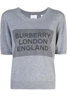 Burberry Blusa De Tricô Com Logo - Cinza