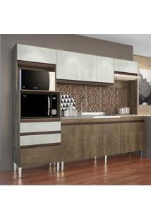Cozinha Compacta Casamia Ariel Com Espaço Para 2 Fornos E Cooktop 10 Portas E 2 Gavetas Dark/Snow